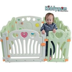Kiddygem baby playpen - Angel wings and hearts (Green)