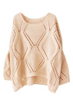 Hi-lo Cable Knit Sweater - Neutral - Featured Modified Cable Knit Pattern