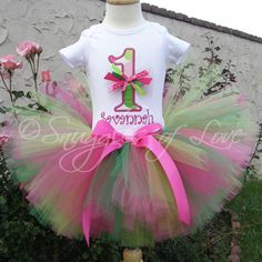 Pink and Green Personalized 1st Birthday Tutu Sets, Tutu Outfits
