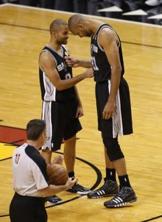 Tony Parker and Tim Duncan. Trying to win one more NBA championship for each other.