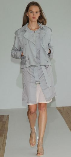 gray-blue trench w/transparent sandales for a modern feel- MM6 Maison Martin Margiela Spring 2013
