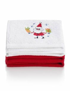 2 Christmas Design Face Pack Towels - Marks & Spencer