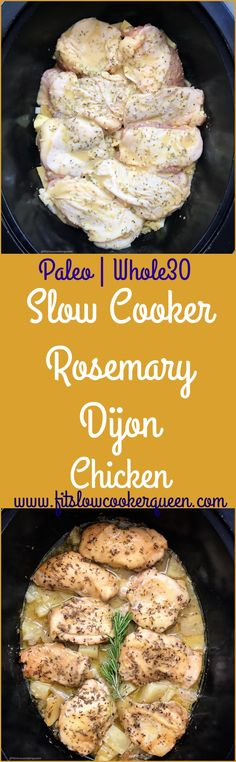 A homemade rosemary dijon sauce cooks on top of chicken and your preferred potato in this easy and healthy slow cooker recipe. #slowcooker #crockpot #paleo #whole30