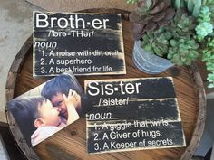 Sister and brother wooden plaque. Stained wood Great for a gallery wall/nursery/bedroom Great gift for sisters and best friends :)