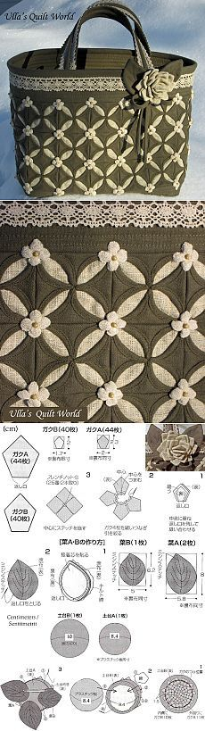 Ulla's Quilt World: Cathedral window quilt bag, flower pattern
