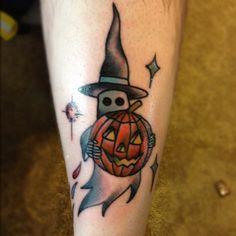 Ghost and pumpkin Halloween tattoo