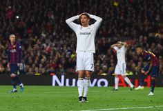 Cristiano Ronaldo of Real Madrid CF (7) reacts during the La Liga match between FC Barcelona and Real Madrid CF at Camp Nou on March 22, 2015 in Barcelona, Catalonia.