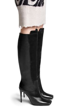 Meriall black knee-high boots with a bold, square toe. #AcneStudios #FallWinter2014 #shoes #boots