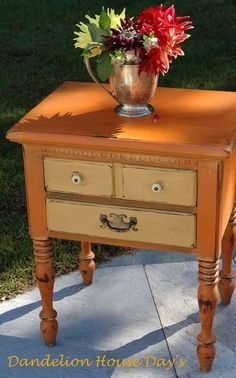 Annie Sloan Chalk Paint Hand Painted Bedside Table