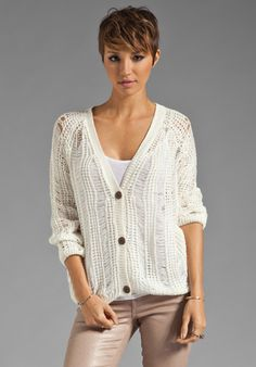 Ash-Rain-Oak Hatti Open Work Cardigan in White, $75 // revolveclothing.com