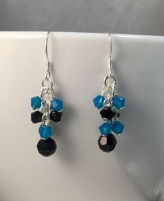 Sterling Silver Carolina Panthers crystal cluster earrings by TSDesignss on Etsy