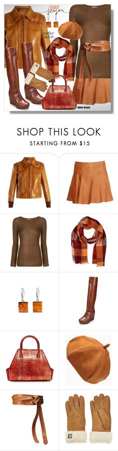 """Transitioning Fall to Winter Leather Jackets & Mini Bags"" by simply-one ❤ liked on Polyvore featuring Prada, N.Peal, Altea, Stuart Weitzman, La Perla, ADA Collection, UGG, leatherjackets, minibags and pumpkinspice"