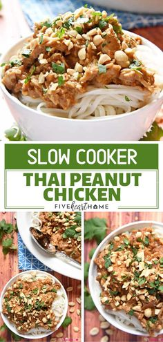 An effortless and delicious Slow Cooker Thai Peanut Chicken recipe perfect for dinner! This recipe features tender chicken stewed in flavorful coconut milk and peanut sauce, served over rice or rice noodles. Save this Christmas dinner idea for later! Best Chicken Recipes, Turkey Recipes, Asian Recipes, Real Food Recipes, Cooking Recipes, Ham Recipes, Shrimp Recipes, Potato Recipes, Recipies