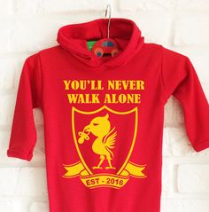 Baby's Liverpool FC football team inspired RED bodysuit onesie baby grow. You'll never walk alone. by MumKnowsBabyGrows on Etsy