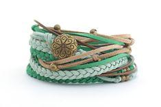 Emerald Jade Green Boho Wrap Bracelet Green Brown by cardioceras