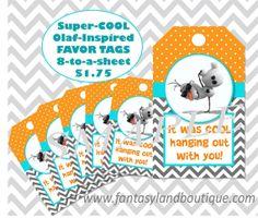 Olaf Inspired Favor Tags Frozen Birthday by FantasylandBoutique, $1.75