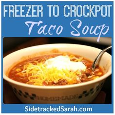 Freezer to Crockpot - Taco Soup. I didn't do as freezer meal. I browned frozen ground beef on high for 3 hours before adding everything to crockpot then cooked on low for 3 hours. Then I added shredded cheddar cheese and seasoned tortilla strips to top before serving.