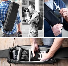 Looks a lot easier to carry than the square bags...Urban Quiver Camera Bag #Photography #Gear #Camera #Bag
