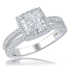 Clarissa Cushion Cut CZ Halo Open Band Solitaire Engagement Ring