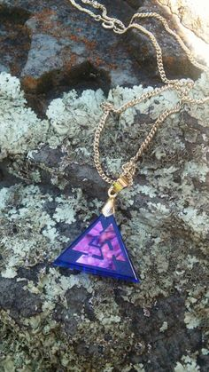 "ornamentalglass: "" Valknut cold worked dichroic/iridescent jewel by Richard Elvis. """