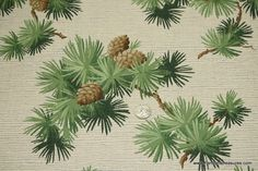 1940's Vintage Wallpaper Pinecones and Pine ♥ by HannahsTreasures