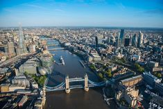 A daytime view from Tower Bridge down the Thames. - Image: Beautiful aerial views over London (© BARCROFT MEDIA/Jason Hawkes) Tower Bridge London, Tower Of London, Westminster Abbey London, London Night, London Eye, Beautiful London, London Tours, London Skyline, River Thames