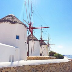 The famous Cycladic windmills , at Mykonos island (Μύκονος) . White & blue perfection at the most amazing destination ❤️.