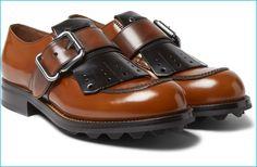 Prada Men's Brown Spazzolato Leather Kiltie Derby Shoes