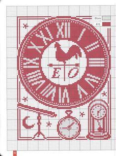 cuisine - kitchen - horloge - poule - point de croix - cross stitch - Blog : http://broderiemimie44.canalblog.com/
