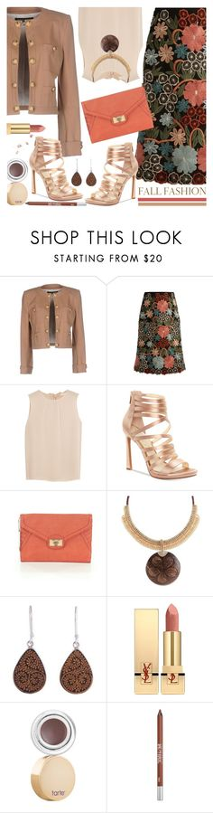 """Fall Floral Skirt & Blazer"" by brendariley-1 on Polyvore featuring Balmain, RED Valentino, Tory Burch, Jessica Simpson, Danielle Nicole, NOVICA, Yves Saint Laurent, tarte and Urban Decay"