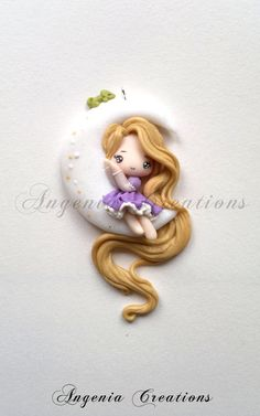 Rapunzel on the moon ! composition created by me entirely handmade with polymer pastes