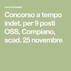 Concorso a tempo indet. per 9 posti OSS, Compiano, scad. 25 novembre