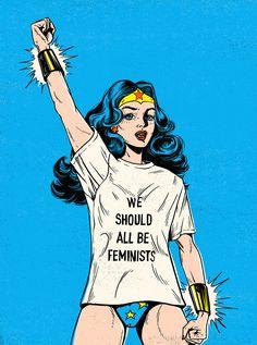 "Wonder Woman ""We Should All Be Feminists"" Created by Lola Beltrán Wonder Woman Kunst, Wonder Woman Art, Wonder Women, Feminist Af, Feminist Quotes, Lola Beltran, Desenho Pop Art, Posca Art, Intersectional Feminism"