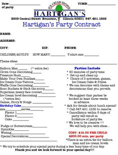 Party Planner Contract Template  Google Search  To Be Filed