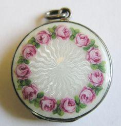 Antique German Silver Guilloche Enamel Rose Floral Locket Pendant ~ Exquisite! #Unbranded #ARTNOUVEAU1920s