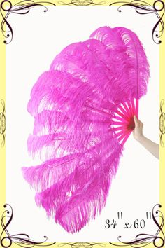 This new sexy feather fan is made by fluffy ostrich wing feathers (2 layer)  They are mounted on a transparent (clear)plastic staves frame  You can custom choose color of the long Feather and shorter feathers