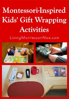 A Montessori-inspired gift wrapping activity is a fun way to help children develop a helpful practical life skill along with working on manners for gift giving and receiving - Living Montessori Now Montessori Trays, Montessori Education, Montessori Classroom, Montessori Toddler, Montessori Materials, Montessori Activities, Toddler Activities, Montessori Bedroom, Baby Education