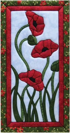 Trio Of Poppies Quilt Magic Kit-10X19