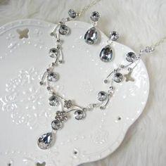 Set: Rhinestone Necklace + Earrings Silver - One Size
