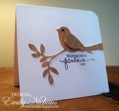 By Emily Nichaus (stampingout at Splitcoaststampers). Uses Stampin' Up Bird Builder punch.