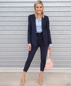 This outfit is perfect for a job interview. A suit gives off a great look for the first impression to a job interview. The heels top off the professional look and go well with the suit.