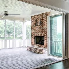 BiFold doors are a wonderful way to bring the outside in. By opening these doors, this large screen porch becomes part of the family room. Good House, Screened In Porch, Home Reno, Southern Living, Beach House, Outdoor Living, Family Room, Doors, Interior Design