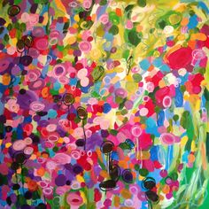 'Blooming' abstract art acrylic painting by Leanne Hughes