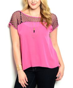 Pink & Black Lace Scoop Neck Top - Plus by Buy in America #zulily #zulilyfinds