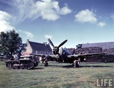 A P-47 at a temporary airfield somewhere in Normandy