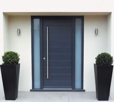 Front Doors: Entry Door Along With Light Oak Wood Door Jambs And Long Black Metal Knobs Will Add Front Door Design Modern Black Front Doors Uk Home Door Ideas: Fascinating Black Modern Front Door For Home Inspirations Modern Exterior, House Front, Contemporary Front Doors, House Exterior, Black Front Doors, Exterior Front Doors, Doors Galore, Grey Front Doors, Front Door Design