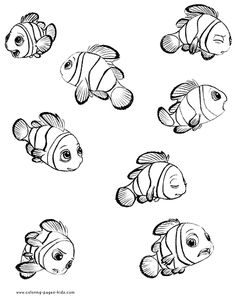 Finding Nemo coloring pages. Disney coloring pages. Coloring pages for kids. Thousands of free printable coloring pages for kids! Finding Nemo Coloring Pages, Family Coloring Pages, Cartoon Coloring Pages, Disney Coloring Pages, Coloring Books, Colouring, Fish Drawings, Cartoon Drawings, Cute Drawings