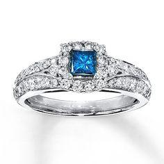 Blue Diamond Ring 1 carat tw Princess-Cut  14K White Gold