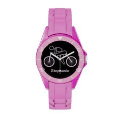 Personalized Sport Ladies Cycling Cyclist Rider Wristwatch This girly watch features a cyclist on a bicycle with a pink background and dark grey text Great a lady cyclist, personal trainer, coach or fan. Email me at support@tlcgraphix.com if you have any questions or comments.