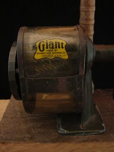Upcycled Vintage GIANT Pencil Sharpener Lamp. Via Etsy. I love this!